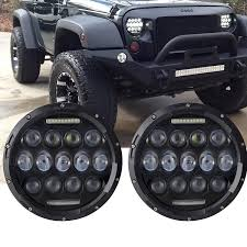 wrangler jeep black turbo pair 7 inch round led headlight with drl hi lo beam for jeep