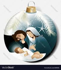 christmas ball with holy family royalty free vector image