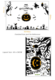 Halloween Owls Tree Branches Witches Owls Pumpkin Wall Stickers Halloween Window