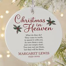 memorial christmas ornaments personalized memorial ornament christmas in heaven