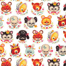 retro wrapping paper retro animal faces wrapping paper elfie children s clothes