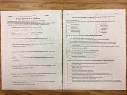 monday writing balanced word equations sherman u0027s science site