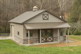 metal garage kit with overhang pole barns garage with porches