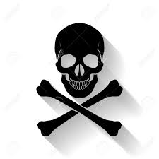 spooky symbols black skull and cross bones on white background as symbol of