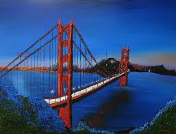 blue sky u0027s of golden gate bridge 7 painting by portland art creations