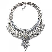 silver boho necklace images Falkor aztec totem antique silver crystal boho statement necklace jpg