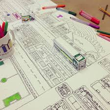 Paper Town Map Personalised Town Map With 3d Vehicles Colouring Poster By So