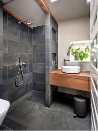 Tropical Bathroom Ideas Grey Ceramic Floor With Chic Laminate Stylish Storage Cabinet For