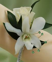 White Orchid Corsage White Sweetheart Rose And White Orchid Boutonniere Green