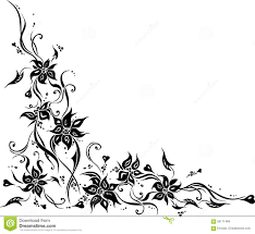 white wedding invitation background with black ornaments stock