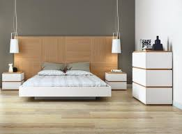 temahome dusk bed in pure white with a large headboard in oak opt
