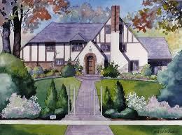 tudor style homes sample watercolor