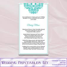 tiffany blue wedding menu cards template by weddingprintablesdiy