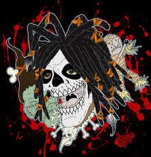 scary halloween music voodoo priest skull drawing horror zombie originalart