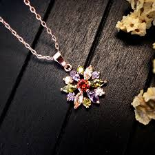 flower silver necklace images Stunning flower silver necklace luxyin jpg