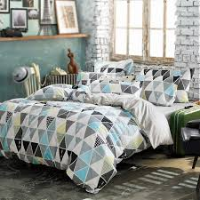 triangle bedding blue grey and white fashion triangle mosaics print abstract design