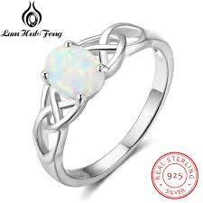 sterling silver wedding gifts oval white opal rings for women genuine 925 sterling