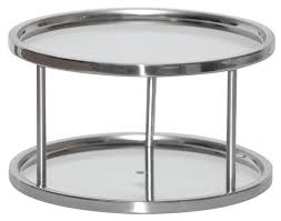 Glass Lazy Susan Turntable by Dial Industries S676p Two Tier Stainless Steel Lazy Susan