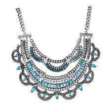 blue crystal statement necklace images Courtney aqua marine crystal encrusted spike scalloped statement jpg