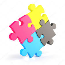 cymk puzzle four assembling colorful puzzle pieces in cmyk stock photo marog