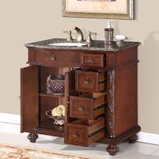 36 inch granite stone top off center sink bathroom single vanity