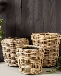 outdoor rattan basket planter balsam hill