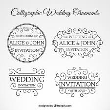 calligraphic wedding ornaments set free vectors ui