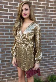 sparkling dresses for new years gold sequin wrap dress swoonboutique formals date