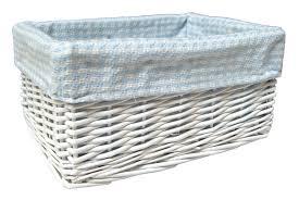 wicker storage basket blue gingham lining 24x18x12cm