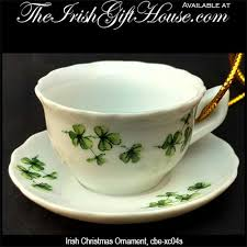 tea cup and saucer ornament with shamrocks