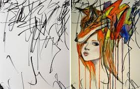 artist turns her 2 year old u0027s sketches into paintings bored panda