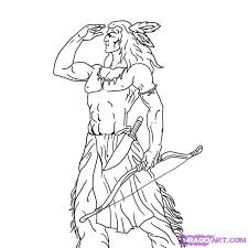 how to draw a indian warrior step by step figures people free