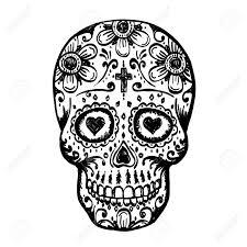 day of the dead skull sketch draw skull sugar flower skull