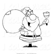vector coloring page of a line drawing of a bell ringer santa by