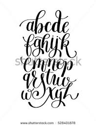 black white hand lettering alphabet design stock illustration