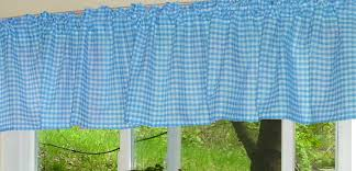 Gingham Curtains Blue Turquoise Gingham Kitchen Café Curtain Unlined Or With White Or