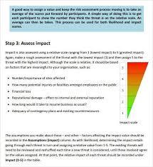 sample threat assessment information security risk assessment