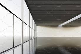 Concrete Loft Photo Exposition Modern Gallery Open Space White Empty Canvas