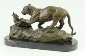mountain lion statue american contemporary bronze wildlife mountain lion