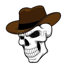 cowboy skull in hat for mascot or tattoo design royalty free