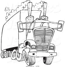 vector of a cartoon big rig releasing a lot of exhaust coloring