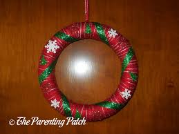 ribbon and yarn wreath craft parenting patch