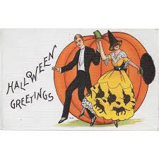 vintage halloween postcard couple at halloween party by m evans