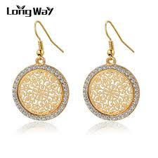wedding earrings drop aliexpress buy longway vintage big flower gold color