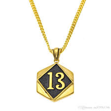 golden fashion necklace images Wholesale men lucky number 13 pendant necklaces design jewelry jpg