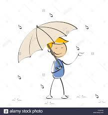 illustration of vector kid holding umbrella in rainy day stock