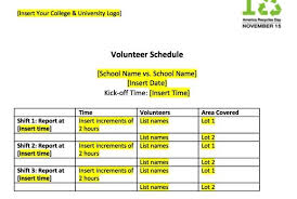Volunteer Schedule Template Excel And Tailgating Tools America Recycles Day