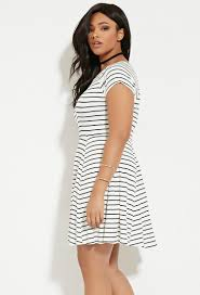 forever 21 plus size stripe smock dress in white lyst