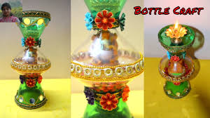 bottle craft diya and candle holder with waste plastic bottle