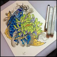 tattoo design koi and chrysanthemum by xenija88 on deviantart